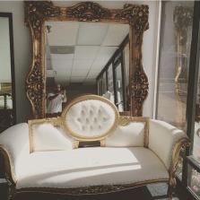 Gold French Couch and Large Gold Mirror
