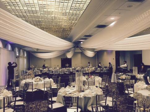 Wedding ceiling swagging decoration California Country Club Whittier