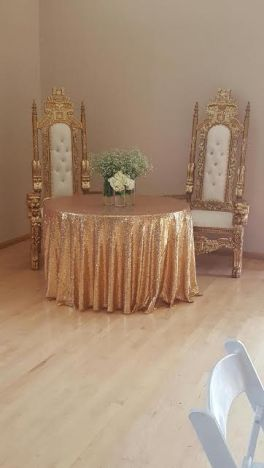 Gold King Throne Chairs-Bride and Groom Chairs for Head Table
