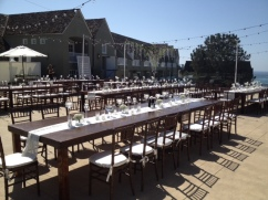 Farm Tables and Mahogany chiavari chairs L'Auberge Del Mar