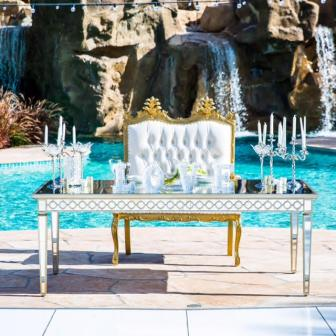 Mirror Head Table and Gold Love Seat
