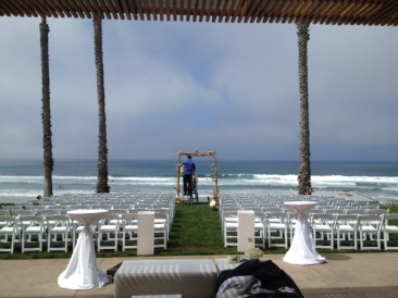 Wedding Ceremony setup Seaside Forum San Diego La jolla