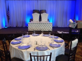 White leather head table and matching chairs